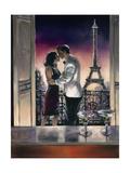Paris Kiss Premium Giclée-tryk af Brent Heighton