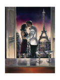 Paris Kiss Premium Giclee Print by Brent Heighton