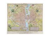 Plan de La Tapisserie, Map of Paris, Originally a Tapestry Made in circa 1570, 1818 Płótno naciągnięte na blejtram - reprodukcja autor Caroline Naudet