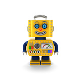 Cute Vintage Toy Robot over White Background Smiling Happily Prints by  badboo