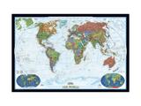 Politisk verdenskort, Dekoration Lærredstryk på blindramme af National Geographic Maps