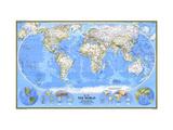 1988 World Map Lærredstryk på blindramme af National Geographic Maps