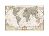 Verdenskort, professionel stil Lærredstryk på blindramme af National Geographic Maps