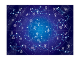 XII Constellations of Zodiac (Ultraviolet Blueprint Version) Prints by Green Ocean