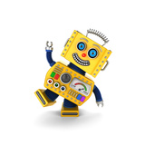Cute Yellow Vintage Toy Robot over White Background Having Fun Posters by  badboo