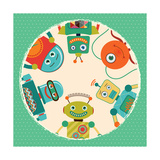 Vector Retro Robots Card Illustration Prints by  OliaFedorovsky