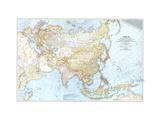 1942 Asia, and Adjacent Areas Map Lærredstryk på blindramme af National Geographic Maps