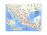 1980 Mexico and Central America Map Lærredstryk på blindramme af National Geographic Maps