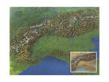 1965 Alps, Europes Backbone Map Lærredstryk på blindramme af National Geographic Maps