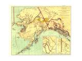 1898 Gold and Coal Fields of Alaska Map Lærredstryk på blindramme af National Geographic Maps