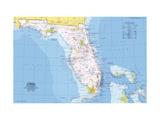 1973 Close-up USA, Florida Map Lærredstryk på blindramme af National Geographic Maps