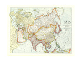 1921 Map of Asia with Europe and a portion of Africa Lærredstryk på blindramme af National Geographic Maps