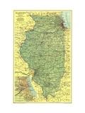 1931 Illinois Map Lærredstryk på blindramme af National Geographic Maps