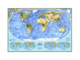 1994 World Physical Map Lærredstryk på blindramme af National Geographic Maps