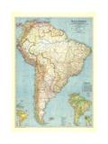 1942 South America Map Lærredstryk på blindramme af National Geographic Maps