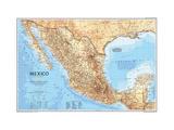 1994 Mexico Map Lærredstryk på blindramme af National Geographic Maps