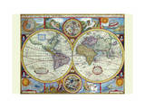 New and Accurate Map of the World; a Stereographic Projection Stretched Canvas Print by John Speed
