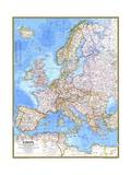 1977 Europe Map Lærredstryk på blindramme af National Geographic Maps