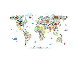 Animal Map of the World Stretched Canvas Print by Michael Tompsett
