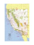 1974 Close-up USA, California and Nevada Map Lærredstryk på blindramme af National Geographic Maps