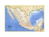 1973 Mexico Map Lærredstryk på blindramme af National Geographic Maps