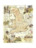 1979 Medieval England Map Lærredstryk på blindramme af National Geographic Maps