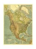 1924 North America Map Lærredstryk på blindramme af National Geographic Maps