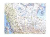 1966 Western Canada Map Lærredstryk på blindramme af National Geographic Maps