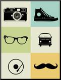 Hipster Mix Poster Mounted Print by  NaxArt