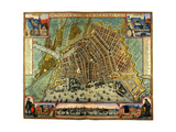 Map of Amsterdam 1633 Stretched Canvas Print by Gerardus Mercator