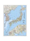 2011 Japan and Korea Map Lærredstryk på blindramme af National Geographic Maps