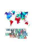World Map Quote Mahatma Gandi Stretched Canvas Print by  NaxArt