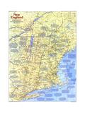 1987 New England Map Side 1 Lærredstryk på blindramme af National Geographic Maps