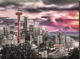 Seattle - Space Needle Stretched Canvas Print