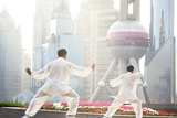 China, Shanghai. Chinese Men Practising Tai Chi on the Bund (Mr) Photographic Print by Matteo Colombo