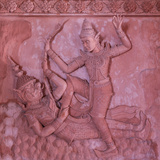 Bas-Reliefs on the Walls of Wat Ratchathammaram, Koh Samui, Thailand Photographic Print by Jon Arnold