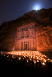 Treasury Lit by Candles at Night, Petra, Jordan, Middle East Photographic Print by Neil Farrin