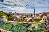 View from Parc Guell Towards City, Barcelona, Catalonia, Spain Photographic Print by Sabine Lubenow