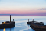 United Kingdom, England, North Yorkshire, Whitby. the Piers at Dusk. Photographic Print by Nick Ledger