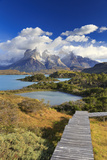Chile, Patagonia, Torres Del Paine National Park, Cuernos Del Paine Peaks and Lake Pehoe Fotodruck von Michele Falzone