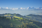 Emmental Valley and Swiss Alps in the Background, Berner Oberland, Switzerland Fotografisk tryk af Jon Arnold