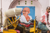 Cycle Rickshaw and Gandhi Mural, Chennai, (Madras), India Photographic Print by Peter Adams
