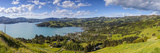 Elevated View over Akaroa, Banks Peninsular, Canterbury, South Island, New Zealand Photographic Print by Doug Pearson