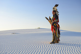Native American in Full Regalia, White Sands National Monument, New Mexico, Usa Mr Photographic Print by Christian Heeb