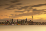 View of Auckland Skyline at Dusk, Auckland, North Island, New Zealand Photographic Print by Ian Trower