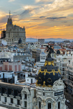 Skyline with Metropolis Building and Gran Via Street at Sunset, Madrid, Comunidad De Madrid, Spain Photographic Print by Stefano Politi Markovina