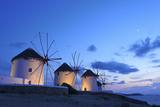 Windmills Kato Mili, Mykonos-Town, Mykonos, Cyclades, Greece Photographic Print by Katja Kreder