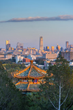 China, Beijing, Jingshan Park, Pavillion and Modern Chaoyang District Skyline Beyond Photographic Print by Alan Copson