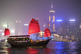 Hong Kong, China. Traditional Chinese Junk Sail in Victoria Harbour Photographic Print by Matteo Colombo