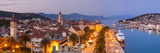 Elevated View over Trogir's Stari Grad (Old Town) Illuminated at Dusk, Trogir, Dalmatia, Croatia Photographic Print by Doug Pearson